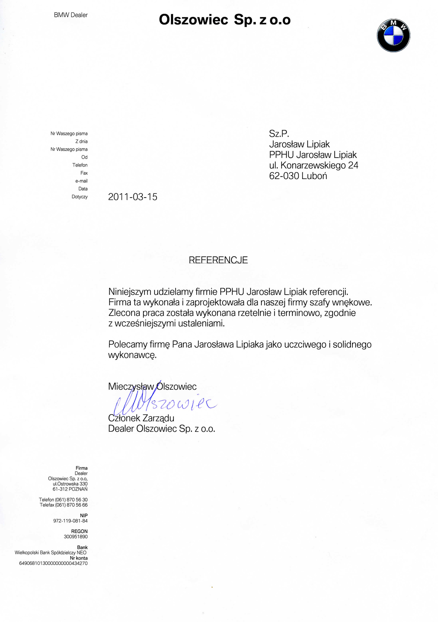 Referencje    Producent mebli kuchennych    Producent mebli    Producent szaf wnękowych    Poznań
